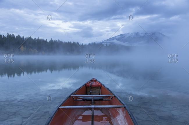 Red canoe in Jasper National Park, Canada