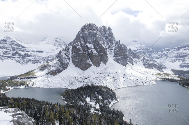 Winter view of Mount Assiniboine in Canada
