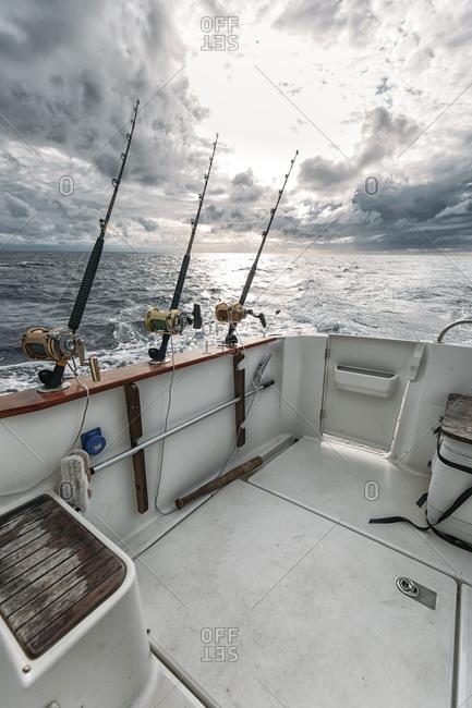 Fishing rods on fishing boat
