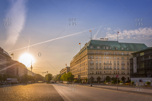 Berlin, Germany - September 24, 2015: Hotel Adlon at Pariser Platz during Sunrise, Berlin