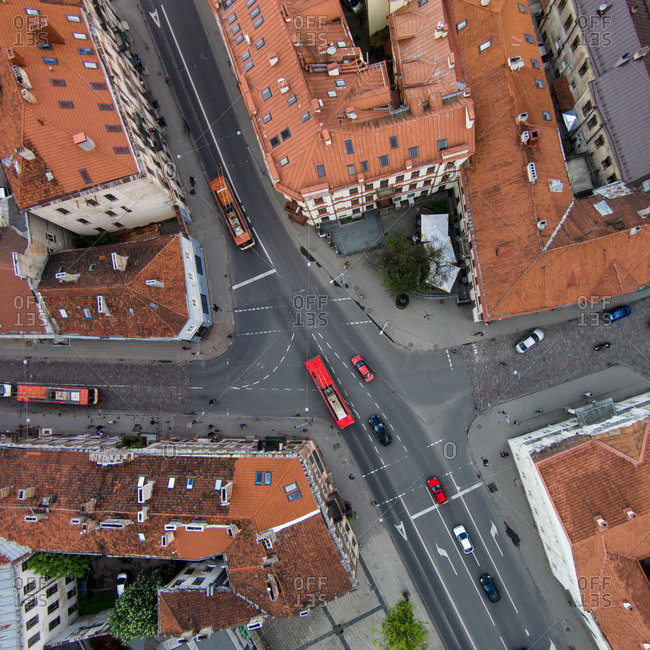 Intersection in street in Vilnius, Lithuania