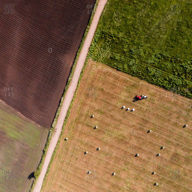 Bird's eye view of Lithuanian farm fields