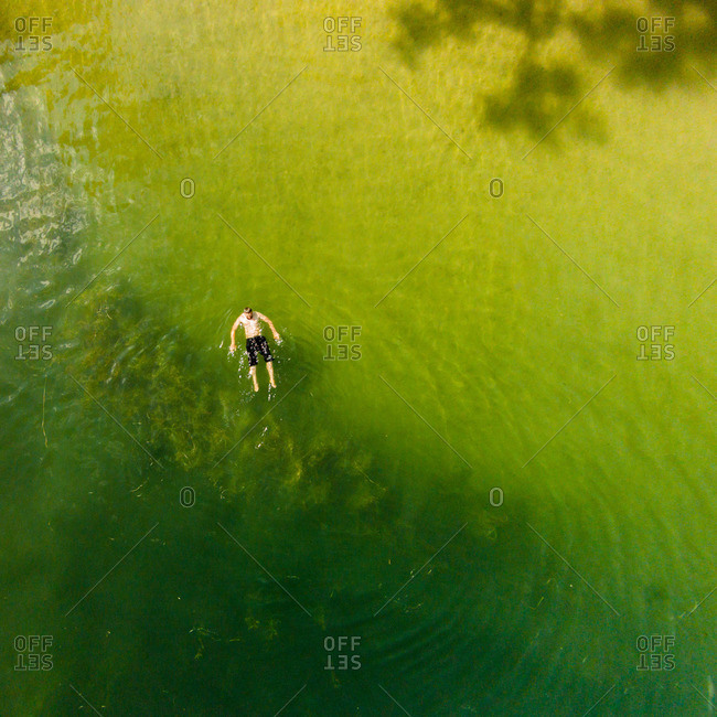 Swimmer in Galve Lake in Lithuania