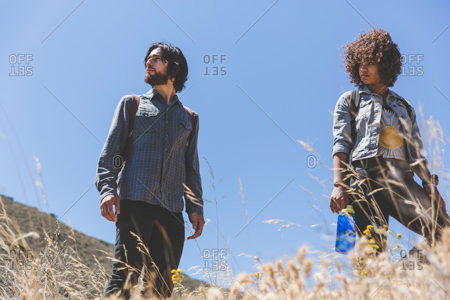 Young adults hiking low angle view