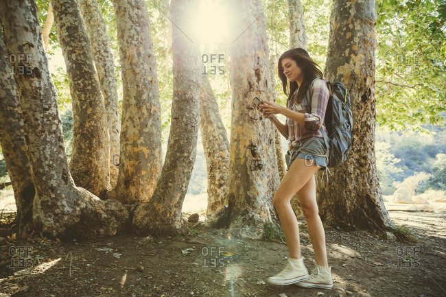 Young adult female hiking through forest texting on her cell phone