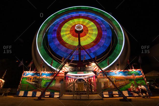 Wheel carnival ride at night