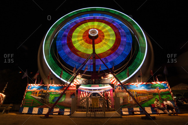 Wheel carnival ride at night