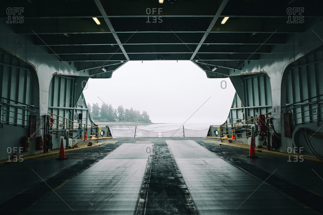Looking out the back of a drive-on car ferry