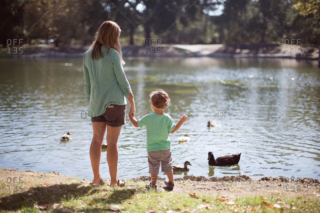 Mom and boy by lake with ducks