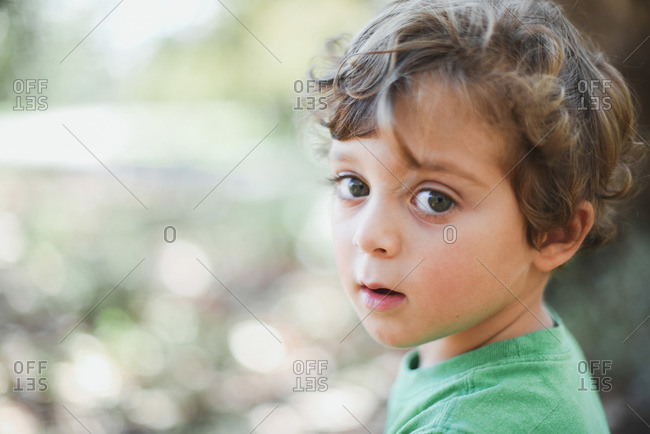 Portrait of boy looking surprised in rural setting