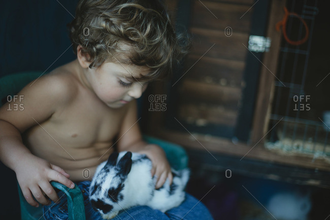 Boy sitting in chair in coop holding rabbit
