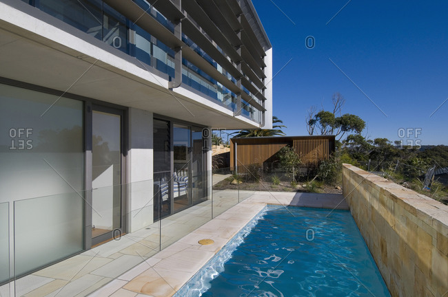 Sydney, Australia - June 11, 2010: Exterior of a modern house with pool