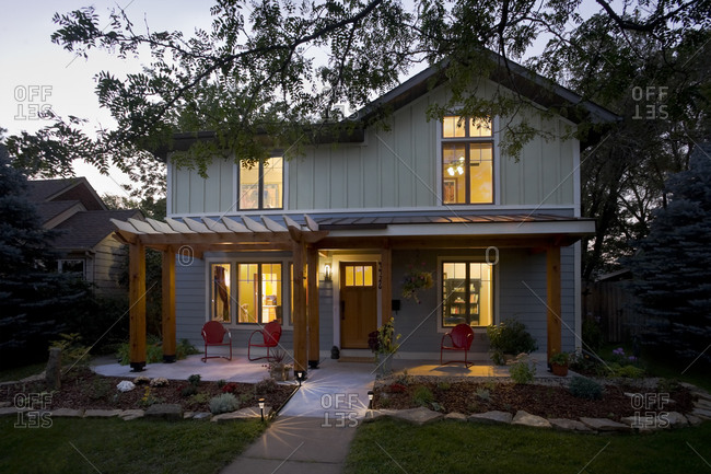 Minneapolis, MN, USA - September 1, 2009: Renovated house with arbor porch roof