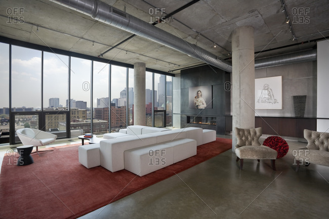 Minneapolis, MN, USA - June 24, 2010: Modern loft space living room with view of downtown