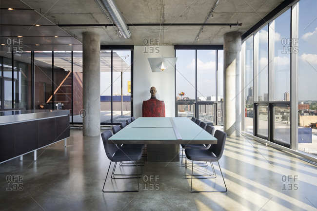 Minneapolis, MN, USA - June 24, 2010: Dining table in modern loft home