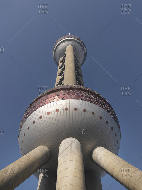 Shanghai, China - March 11, 2010: Low angle view of Pearl TV Tower