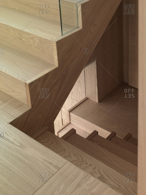 A minimalist wooden staircase