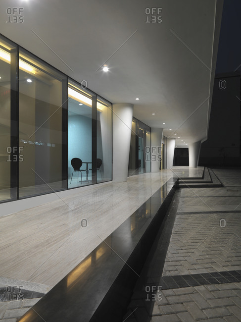 Xiamen, China - April 28, 2011: Glass doors at entrance in modern Chinese hospital