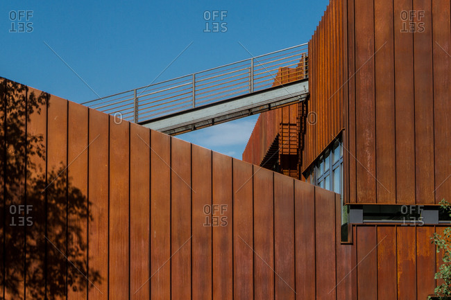 Missoula, MT, USA - August 29, 2013: Exterior of a steel house