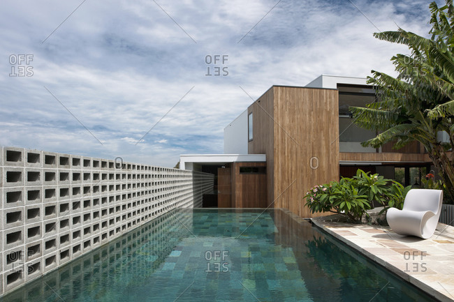 Bellevue Hill, Australia - February 25, 2011: Swimming pool outside modern home