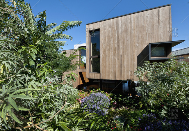 Bellevue Hill, Australia - April 13, 2011: Exterior of wooden modern home