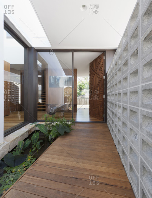 Bellevue Hill, Australia - April 13, 2011: Entrance of modern home