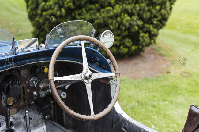 Steering wheel of a classic English car