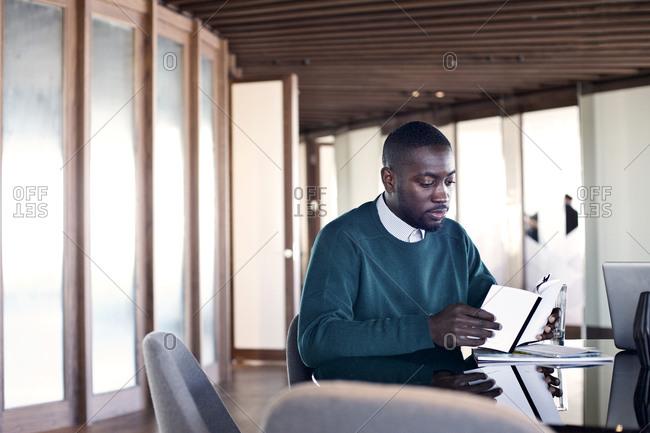 office worker reading in an open office