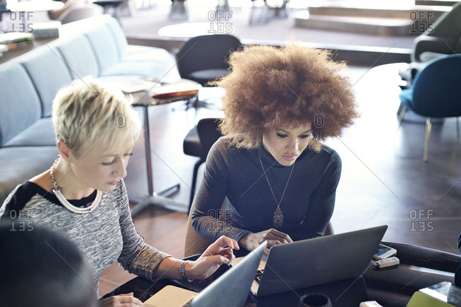 Businesswoman using laptops together