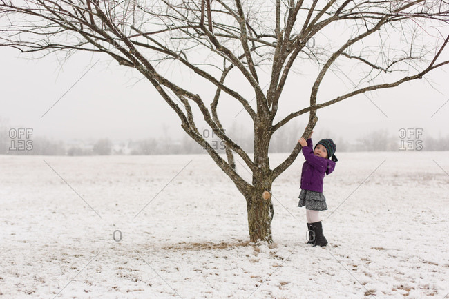Girl climbing a tree in winter snow