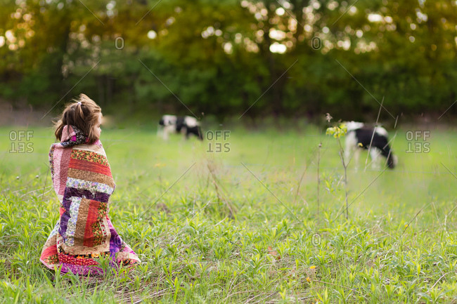 Girl wrapped in a blanket watching cows graze