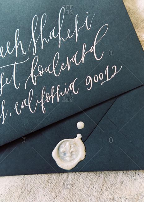 Wedding invitation with wax seal