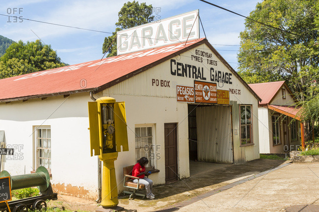 Mpumalanga, South Africa - April 3, 2015: Old Motor Garage, Pilgrim's Rest, Drakensburg Escarpment