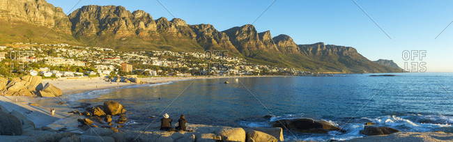Camps Bay at sunset panorama, Cape Town, Western Cape, South Africa