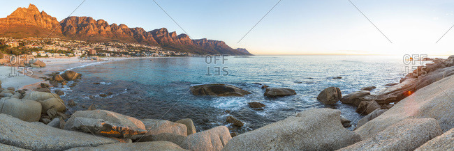 Camps Bay coastline at sunset panorama, Cape Town, Western Cape, South Africa