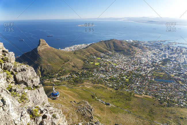 Cable car & view over Cape Town, Table Mountain, Cape Town, Western Cape, South Africa
