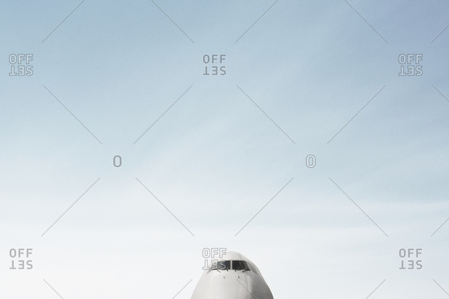 View of top half and front of airplane