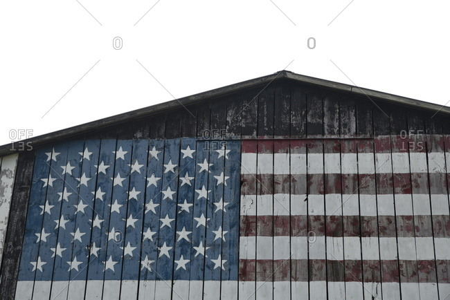 American flag painted on side of barn