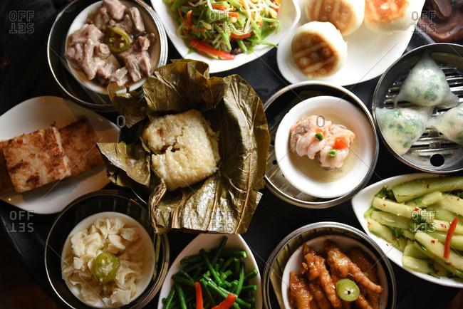 Various dim sum dishes