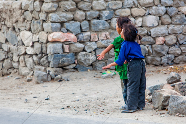 Kids playing on the streets of Ladakh, India