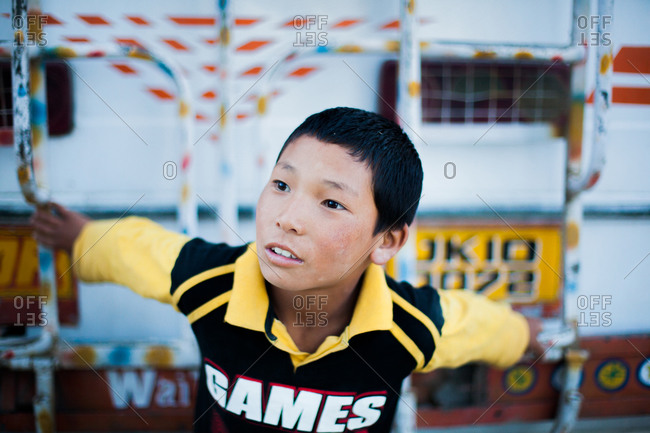 Thiksey, Ladakh, India - August 28, 2010: Portrait of a Ladakhi boy in Thiksey, India