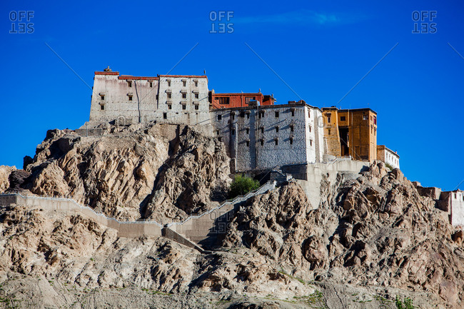 The hillside Thiksey monastery in Ladakh, India