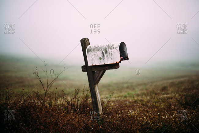 Leaning country mailbox with beer bottle in field
