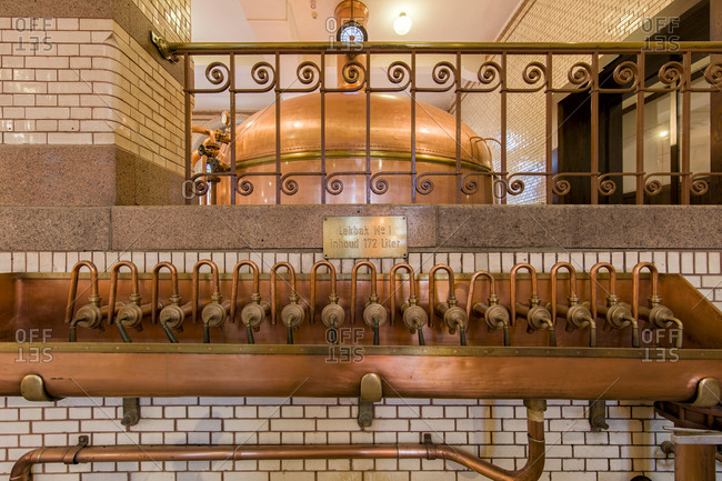 October 6, 2015: Interior of the historical Heineken Brewery in Amsterdam, originating  from 1863