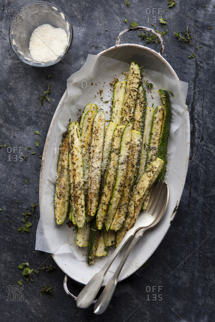 Baked zucchini and parmesan cheese side dish