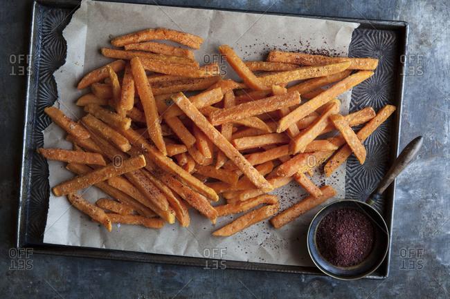 Sweet potato fries seasoned with sumac