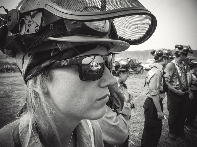 Alberta, British Colombia, Canada - July 12, 2015: Close up of female Panorama Crew Services member, Alberta, British Colombia, Canada