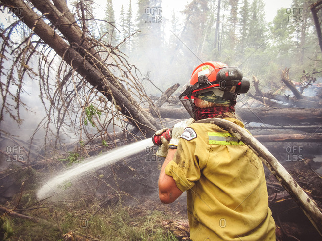 Alberta, British Colombia, Canada - July 13, 2015: Panorama Crew Services member hosing smoking fallen trees, Alberta, British Colombia, Canada