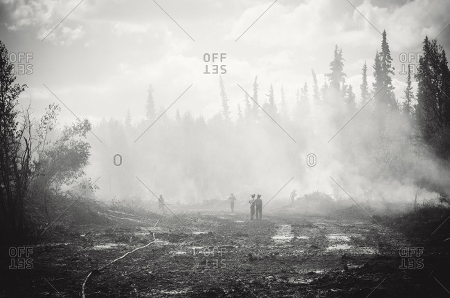 Alberta, British Colombia, Canada - July 13, 2015: Black and white of forest fire clean up by Panorama Crew Services members, Alberta, British Colombia, Canada