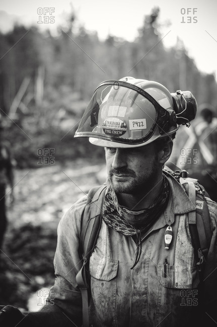 Alberta, British Colombia, Canada - July 14, 2015: Black and white close up of member of Panorama Crew Services, Alberta, British Colombia, Canada